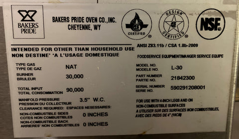 "Bakers Pride L-30R Natural Gas 30"" Low Profile Radiant Charbroiler - 108,000 BTU"