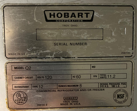 Hobart Q2 2-Door Reach-In Refrigerator