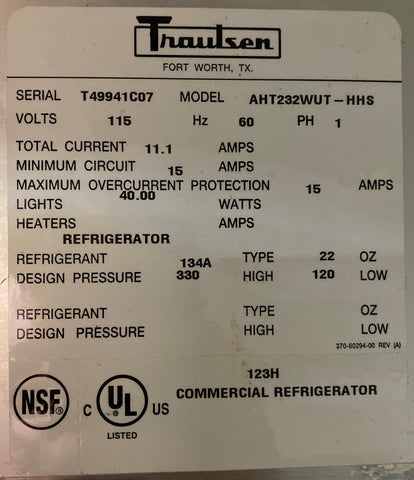 Traulsen AHT232WUT-HHS 51.6 Cu. Ft. Half Door Two Section Reach In Refrigerator