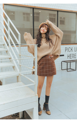 Autumn And Winter Harajuku Woolen Plaid Retro Skirt