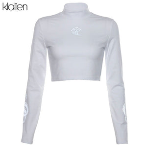 KLALIEN dragon print T-shirts reflective turtleneck Long Sleeve Slim Harajuku Streetwear 2019 New Women Fashion Short Tees
