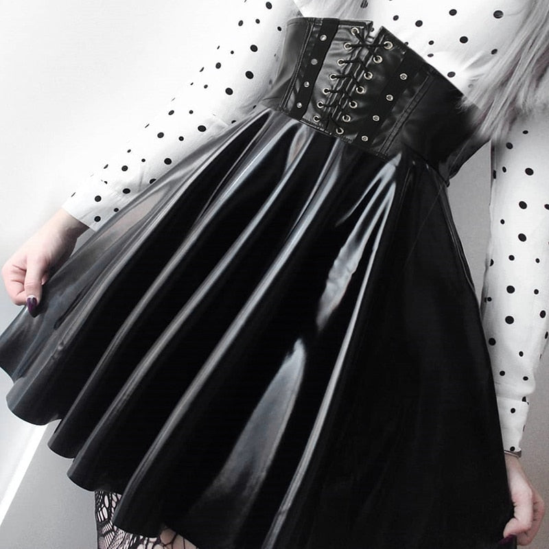 Gothic Bandage Faux Leather Black Mini Pleated Skirts