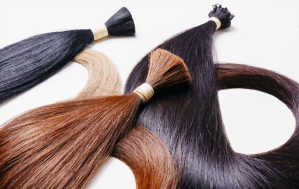 three different colors hair extensions