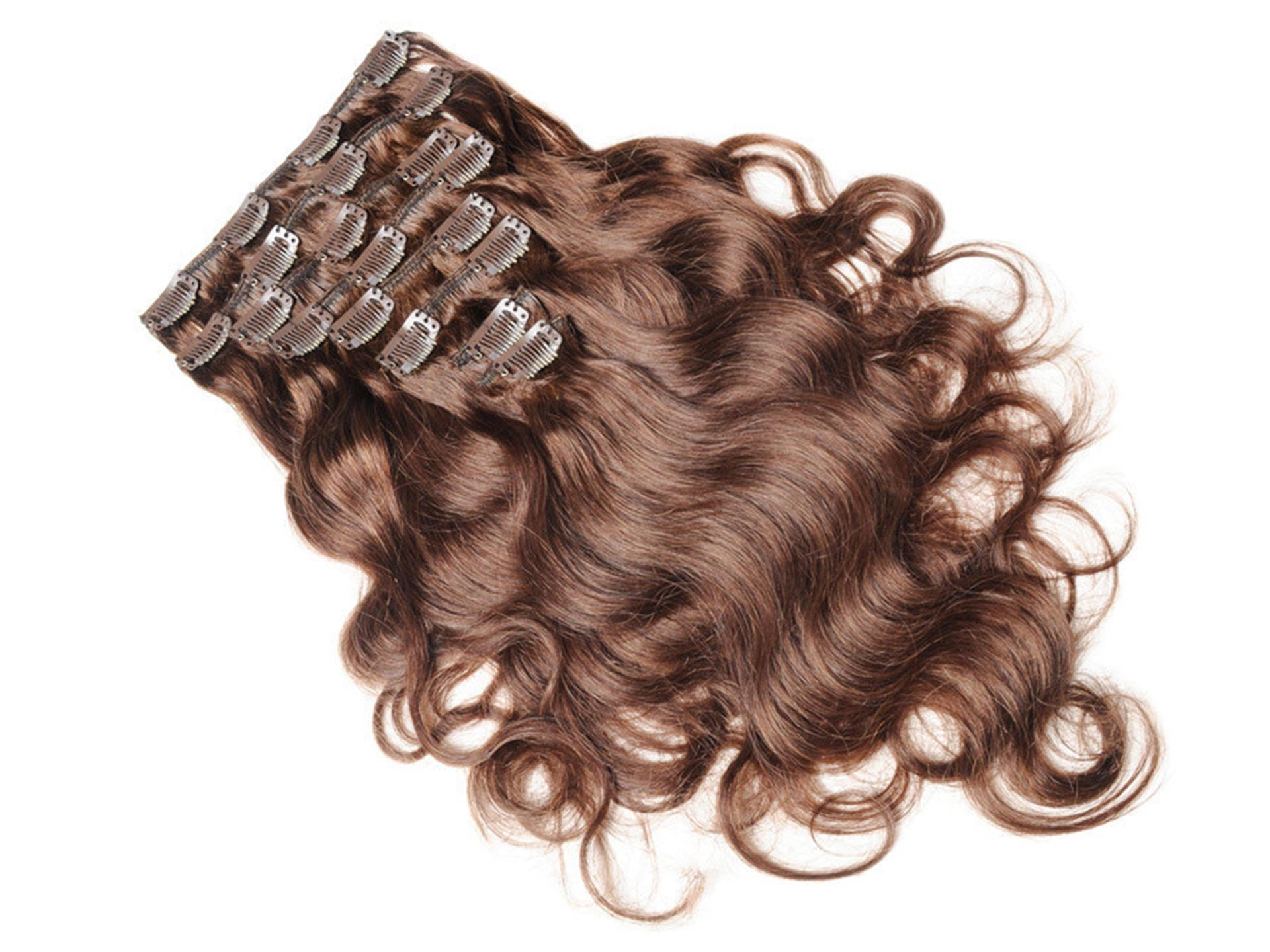 waved lace weft clip in hair extensions