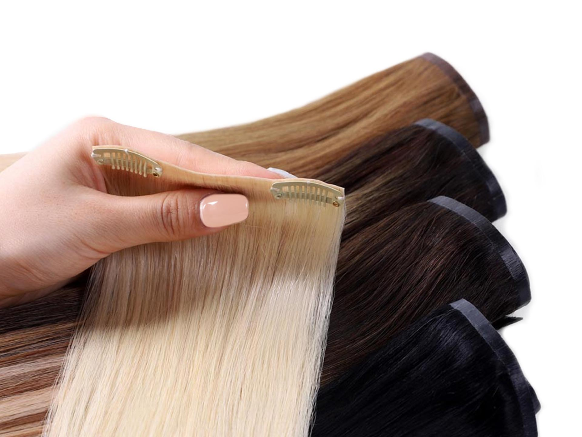 thin pu weft of seamless clip in hair extensions