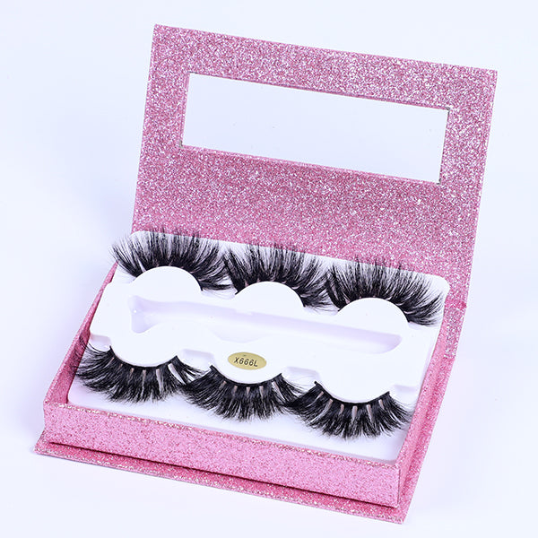 Hand-made 3D Mink Fur False Eyelashes - 3 Pairs/pack