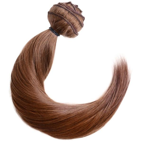 Lace-Weft Clip In Remy Human Hair Extensions - Chestnut Brown - Mhot Hair