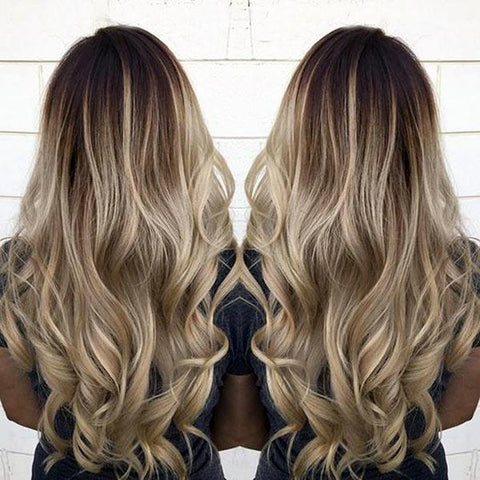Seamless Clip In Remy Human Hair Extensions - Balayage Brown-Champagne Blonde