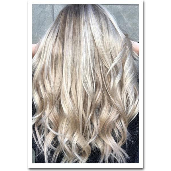 Seamless Clip In Remy Human Hair Extensions - Balayage Champagne-Platinum Blonde - Mhot Hair