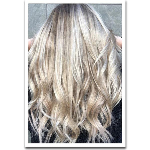 Seamless Clip In Remy Human Hair Extensions - Balayage Champagne-Platinum Blonde