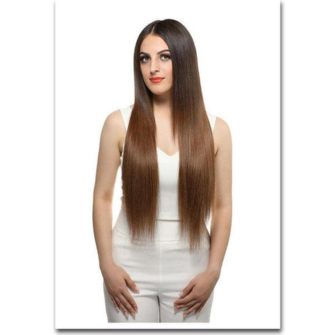 Seamless Clip In Remy Human Hair Extensions - Chestnut Brown