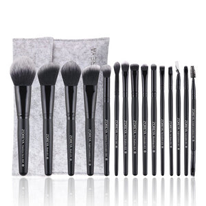 Professional Makeup Brushes Set Cosmetic 15pcs Wood Handle Soft Synthetic Fiber Hair