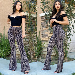 "The ""Kiara"" Paisley Bell Bottom Pants In Black"
