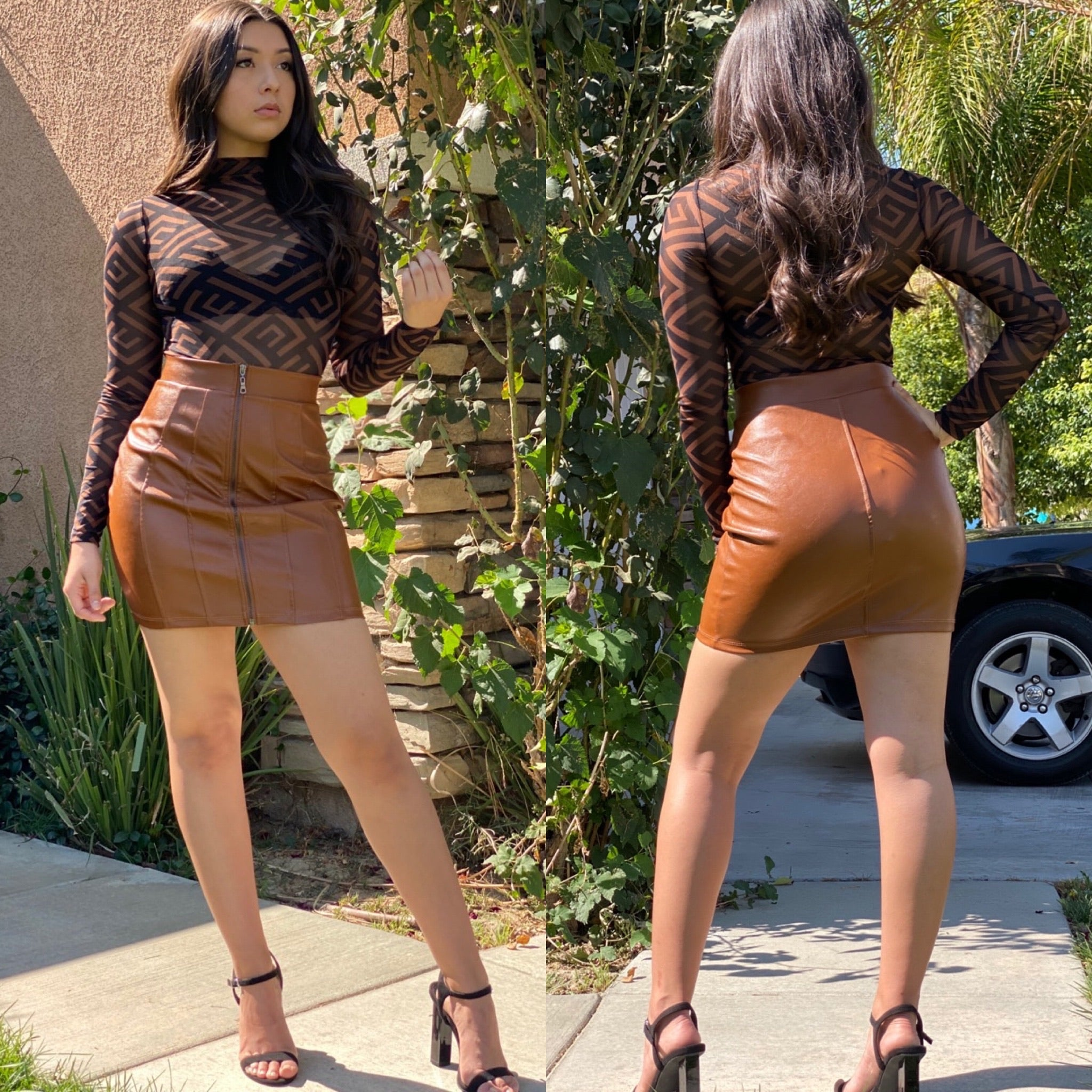 "The ""Tina"" Faux Leather Skirt In Brown"