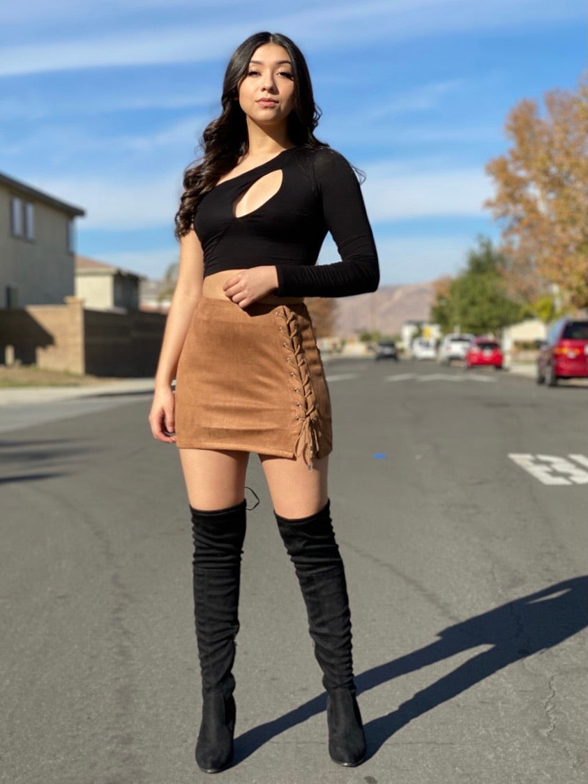 "The ""Dolled Up"" Suede Skirt In Mocha"