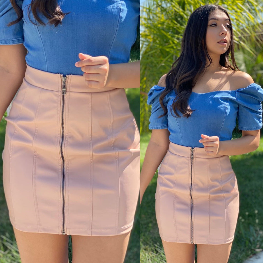 "The ""Tina"" Faux Leather Skirt In Blush"