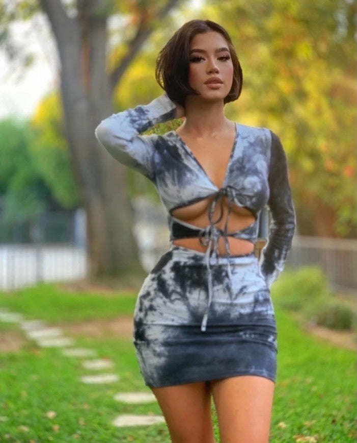"The ""Darlene"" TieDye Tie Up Dress"