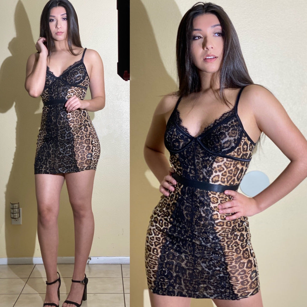 "The ""Black Lace"" Mesh Leopard Dress"