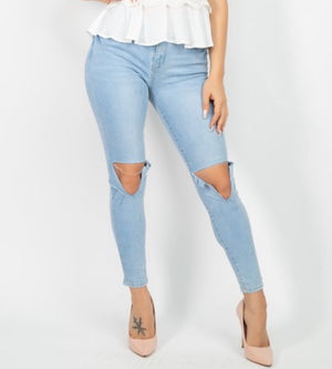 "The ""Morgan"" Light Wash High Waisted Skinny Jeans"