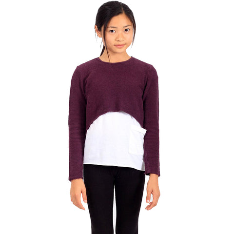 Sassy Crop Sweat - Grape - Mimobee