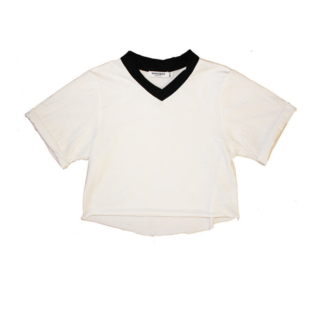 Chillers Crop V-Neck Tee - White - Mimobee