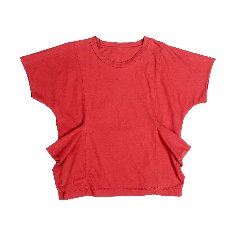 Deena Dbl  Slouch Pkt Tee - Chalk Red - Mimobee