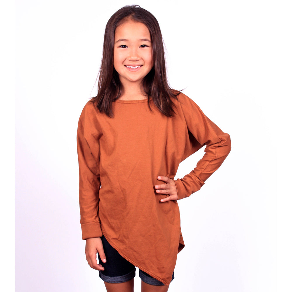Edgy Dolman Tee - Leather Brown - Mimobee