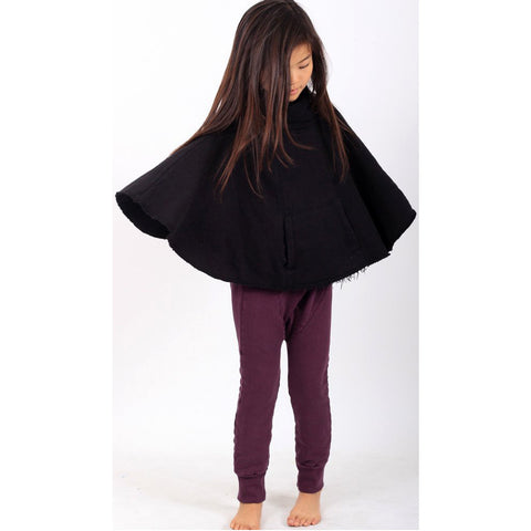 Musketeer Funnel Neck Poncho - Black - Mimobee