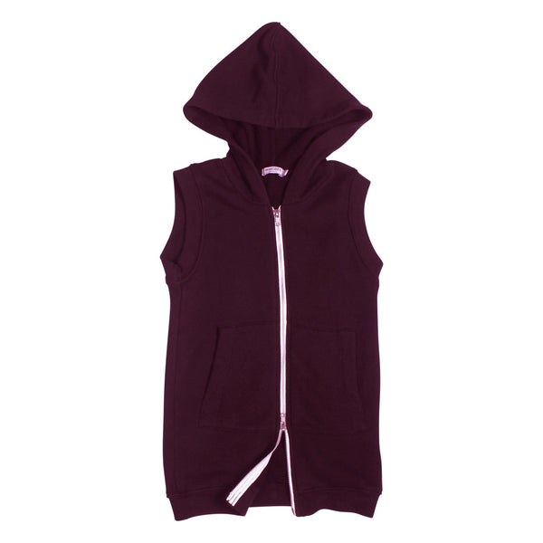 Rocky Sleeveless Long Hoodie - Plum