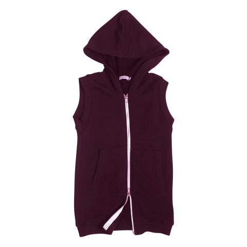 Rocky Sleeveless Long Hoodie - Plum - Mimobee