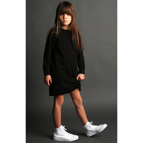 Strap Sweat Dress - Black - Mimobee