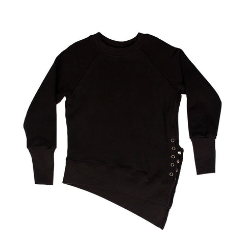Weekender Lace-Up Sweat - Black - Mimobee