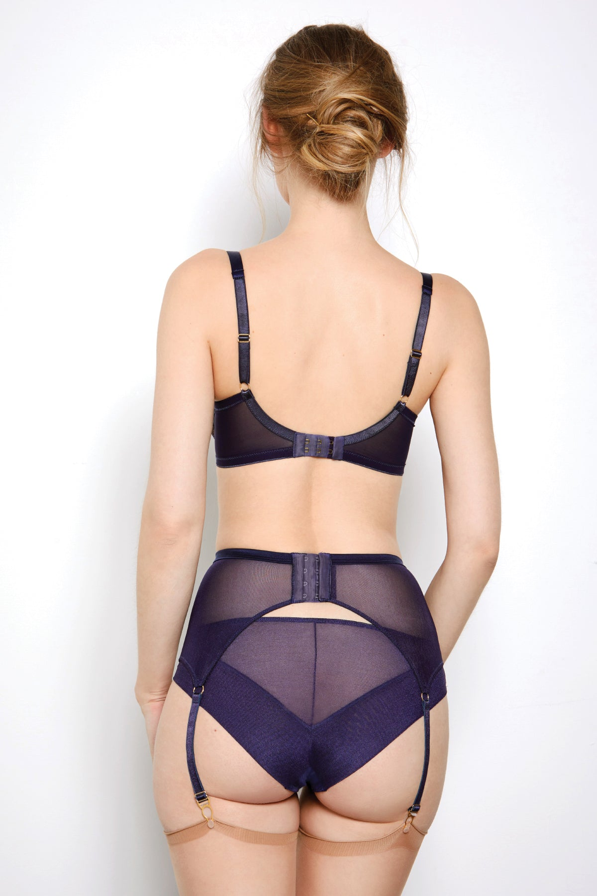 Abbie Purple Lace Suspender Belt