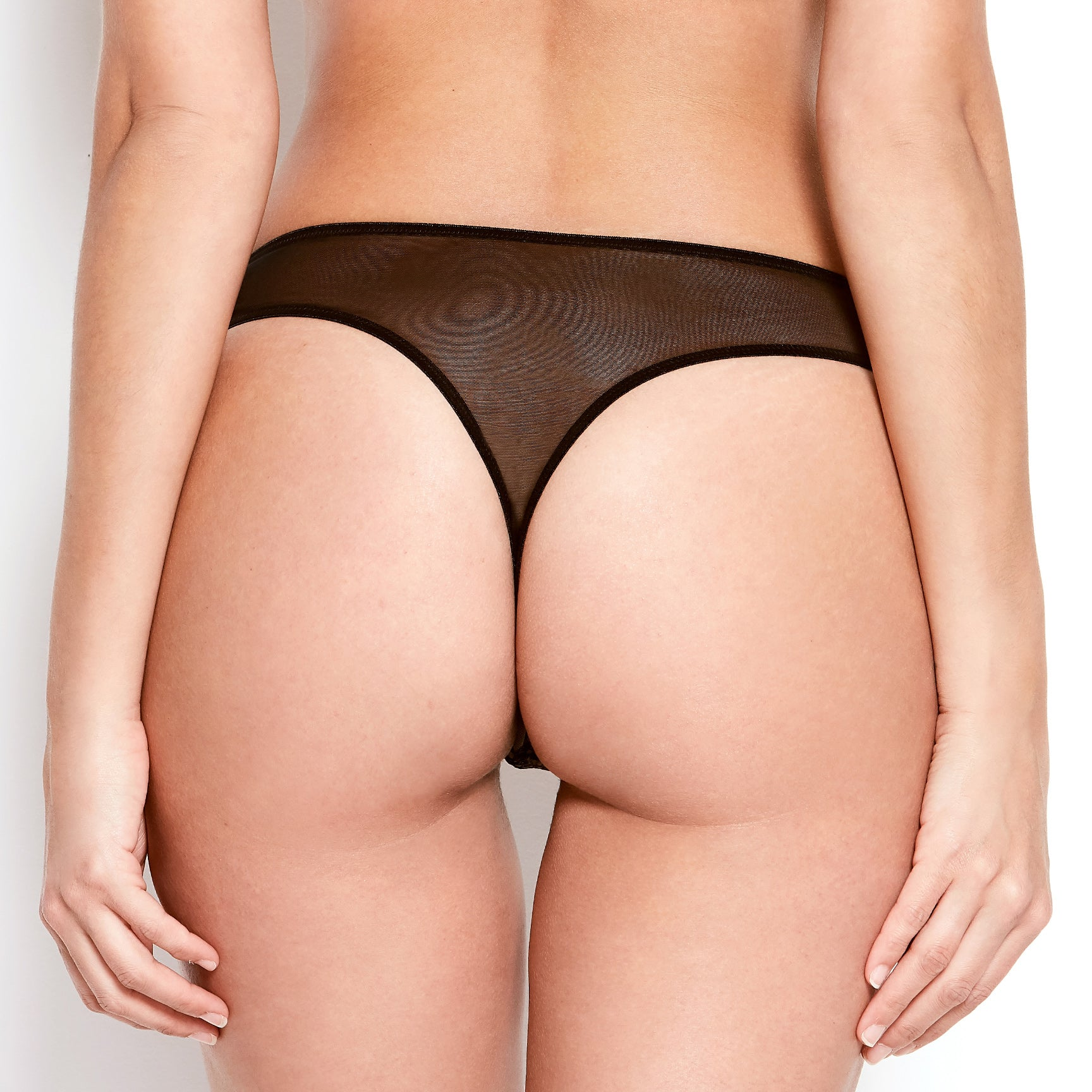 Abrielle Black Embroidered Thong