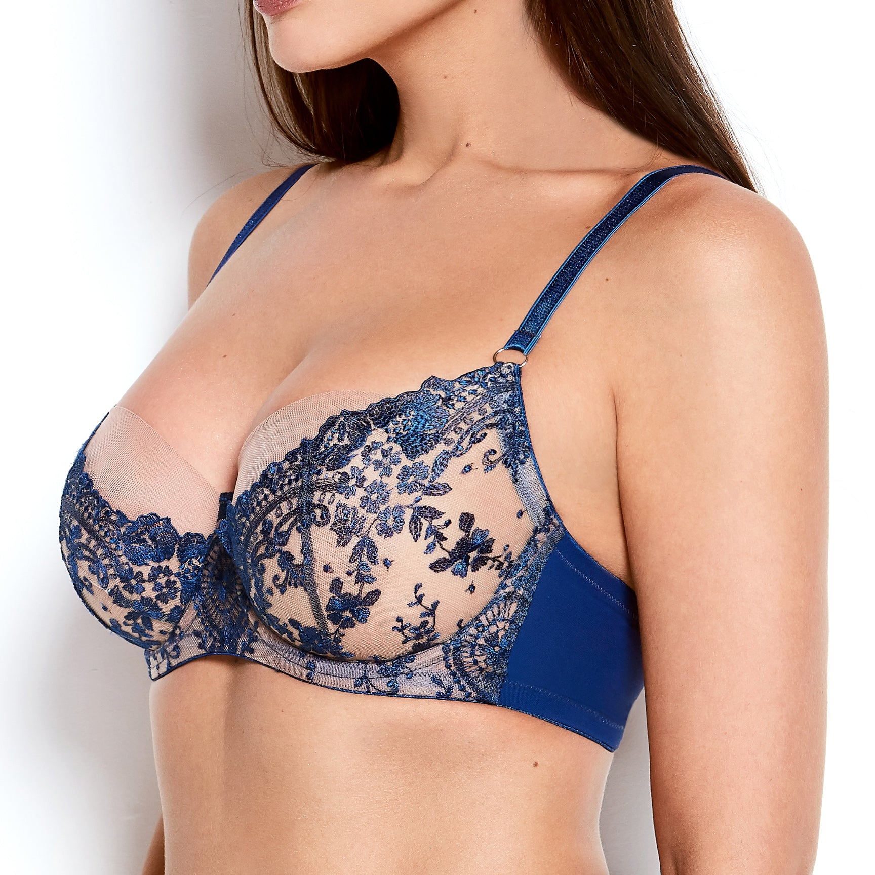 Abrielle Blue Embroidered Bra
