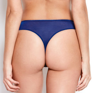 Abrielle Blue Embroidered Thong