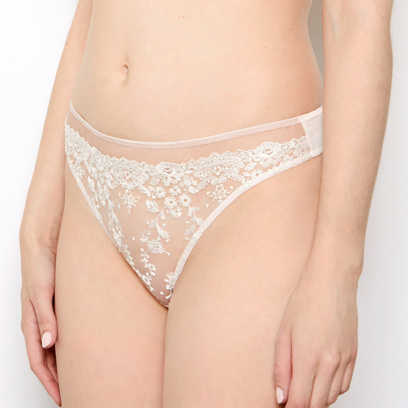Abrielle  Chalk Embroidered Thong