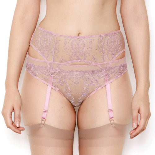 Abrielle Rose Gold Embroidered Suspender Belt