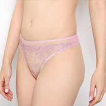 Load image into Gallery viewer, Abrielle Rose Gold Embroidered Thong