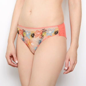 Eden Floral Embroidered Coral Knickers