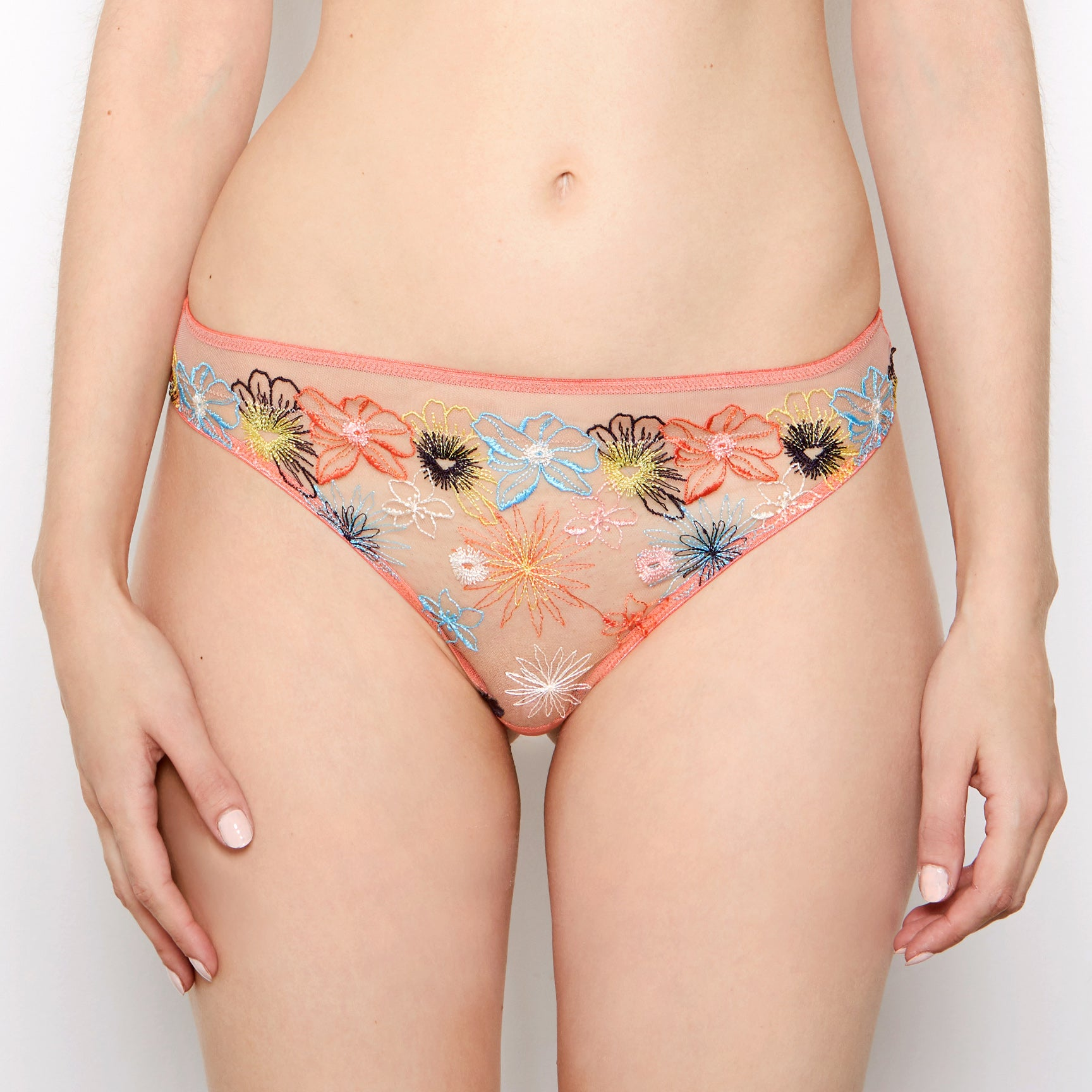 Eden Floral Embroidered Coral Thong