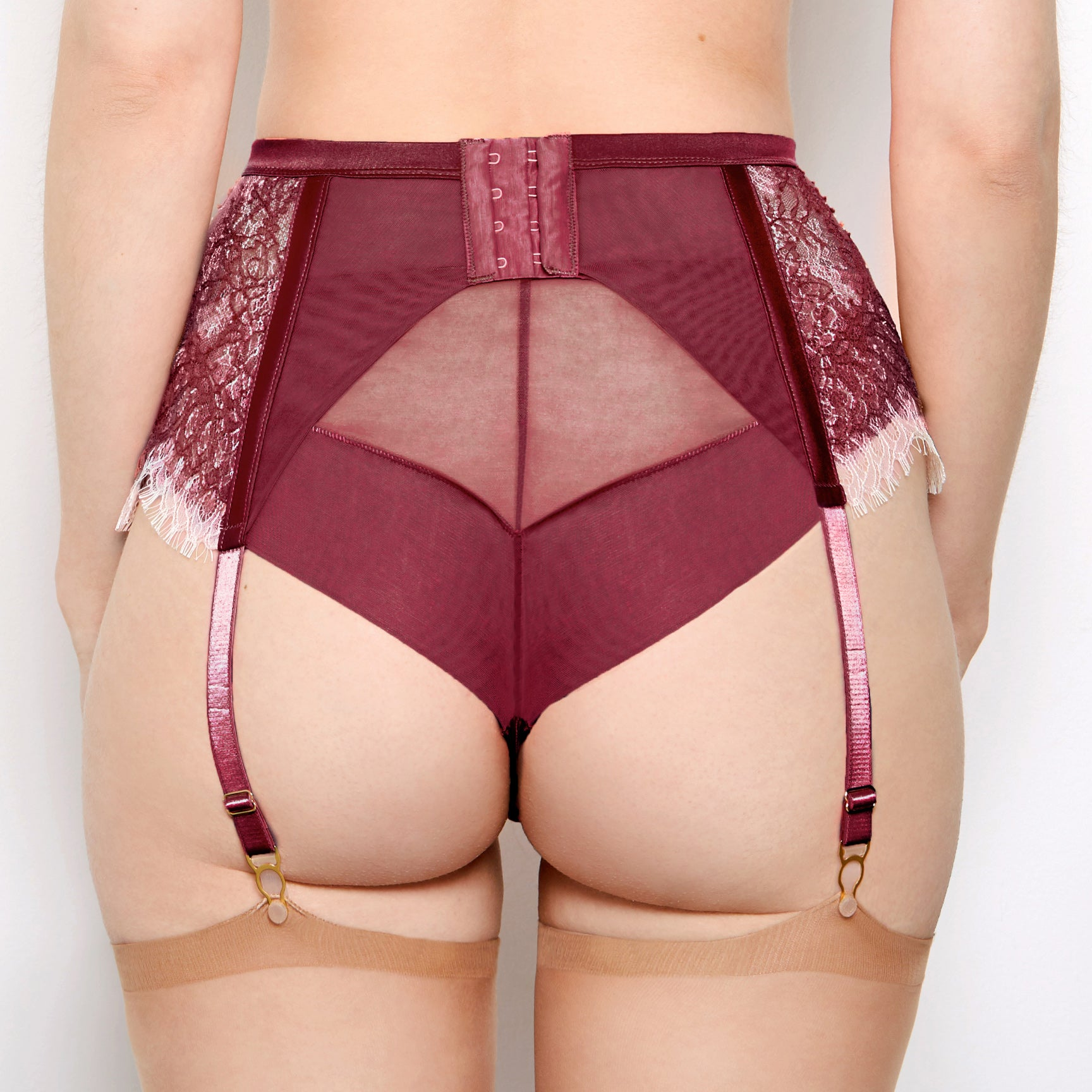 Mariella Boysenberry Suspender Belt
