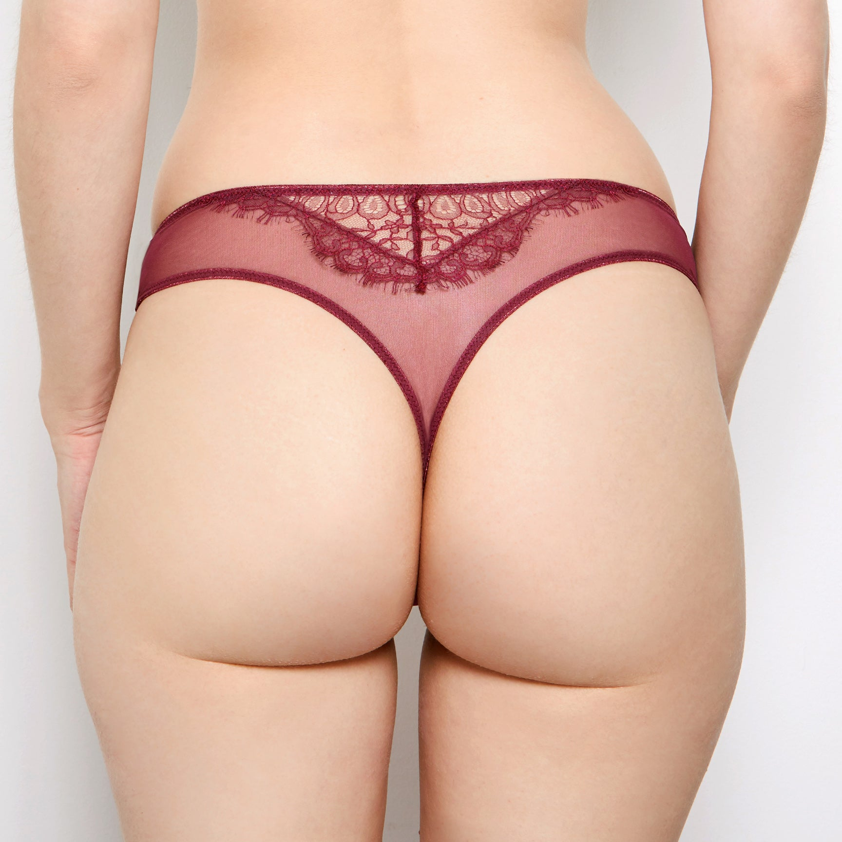 Mariella Boysenberry Leavers Lace Thong