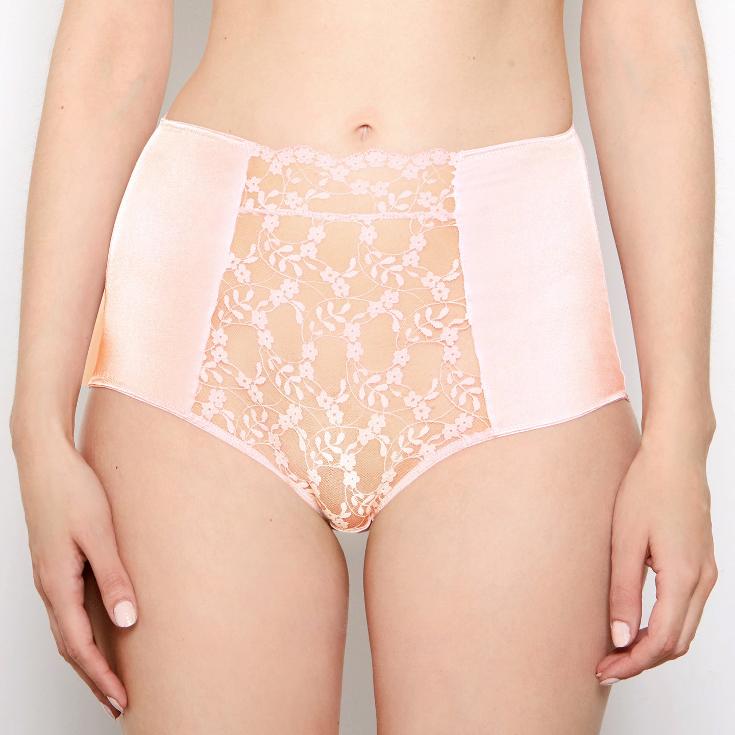 Sophia Apricot Lace High Waisted Knickers