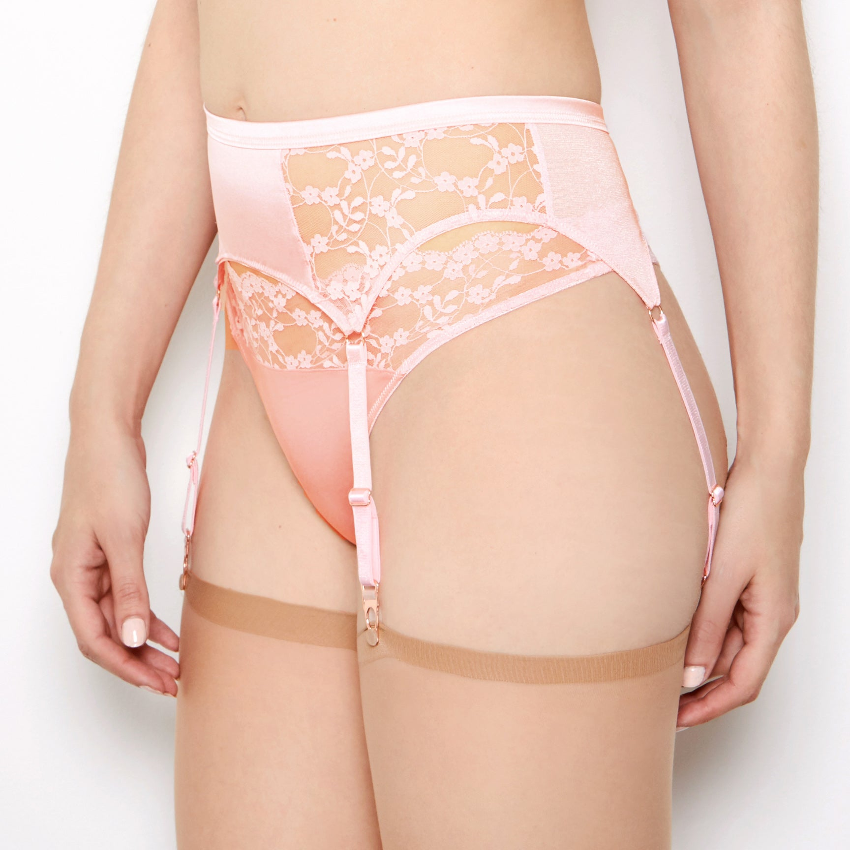 Sophia Blush Lace Suspender Belt