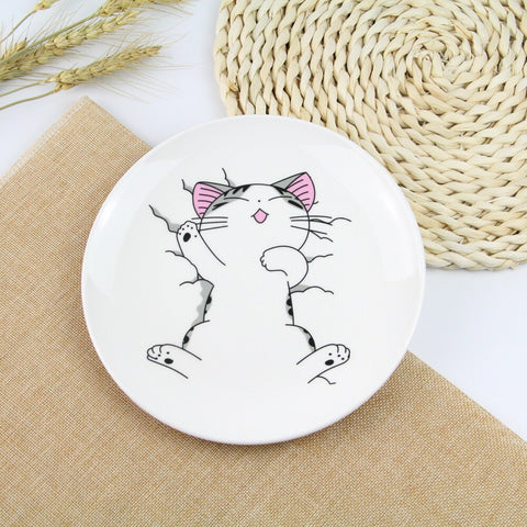 1 PC Cute Cartoon Cat Creative Dishes White Ceramic Plates Steak Western-style Food Rice Soup Bone