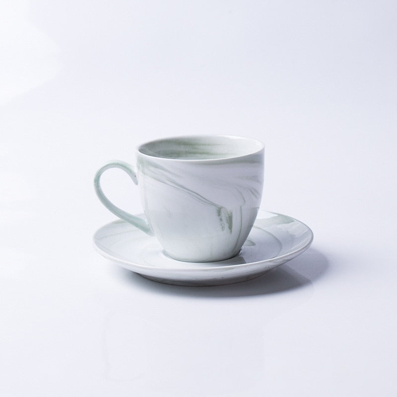 1 Pc Modern Minimalist Marbled Ceramic Coffee Cup Set Porcelain Tea Cup & Saucer Set For Gift