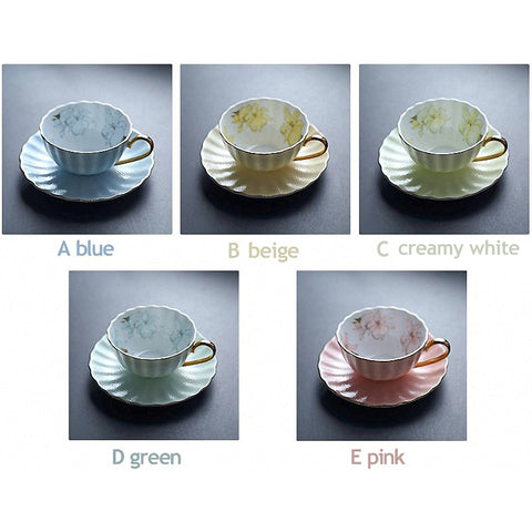 1 Set 230ml British Classic Fine Bone China Coffee Cup Set Ceramic Tea Cup & Saucer Set Handdrawn