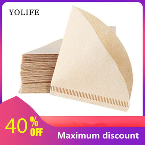 100 Pieces Wooden Hand V60 Drip Paper Coffee Filter 102 Strainer Bag Espresso Tea Infuser