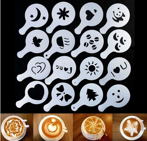 16Pcs Coffee Latte Cappuccino Barista Art Stencils Cake Duster Templates Coffee Tools Accessories